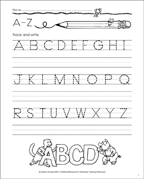 A-Z (Uppercase Letters): Manuscript Practice - Printable Worksheet