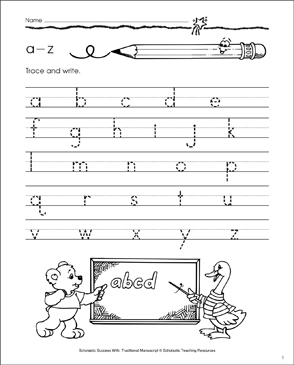 a-z (Lowercase Letters): Manuscript Practice - Printable Worksheet