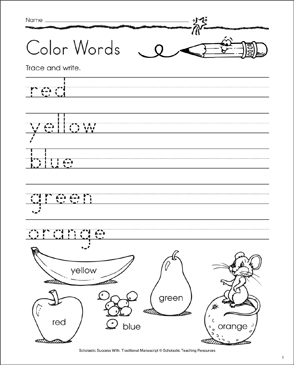 Color Words: Traditional Manuscript Practice - Printable Worksheet