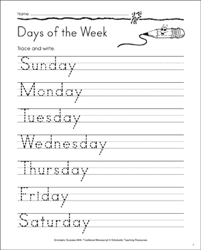 Days of the Week: Traditional Manuscript Practice - Printable Worksheet