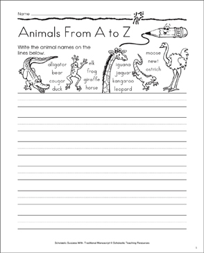 Animals From A to Z: Traditional Manuscript Practice - Printable Worksheet
