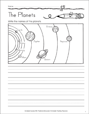 The Planets: Traditional Manuscript Practice - Printable Worksheet