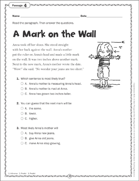 A Mark on the Wall: Close Reading Passage - Printable Worksheet