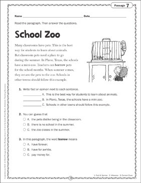 School Zoo: Close Reading Passage - Printable Worksheet