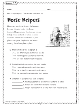 Horse Helpers: Close Reading Passage - Printable Worksheet