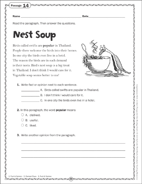 Nest Soup: Close Reading Passage - Printable Worksheet