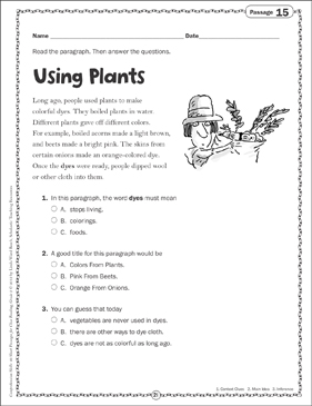 Using Plants: Close Reading Passage - Printable Worksheet
