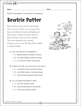 Beatrix Potter: Close Reading Passage - Printable Worksheet