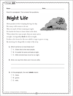 Night Life: Close Reading Passage - Printable Worksheet