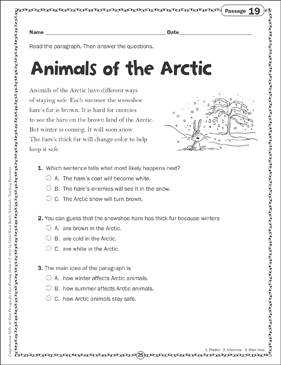 Animals of the Arctic: Close Reading Passage - Printable Worksheet