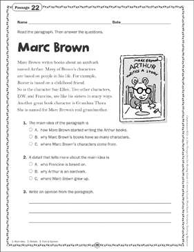 Marc Brown: Close Reading Passage - Printable Worksheet