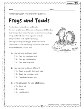 Frogs and Toads: Close Reading Passage - Printable Worksheet