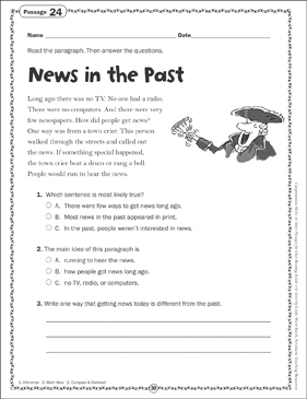 News in the Past: Close Reading Passage - Printable Worksheet