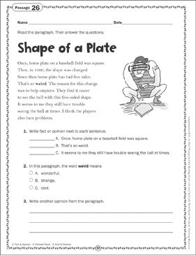 Shape of a Plate: Close Reading Passage - Printable Worksheet