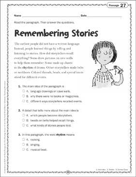 Remembering Stories Close Reading Passage - Printable Worksheet