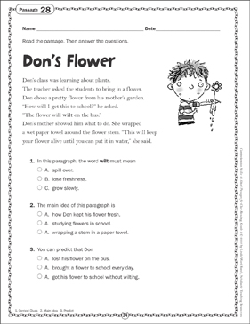 Don's Flower: Close Reading Passage - Printable Worksheet