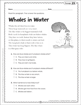 Whales in Water: Close Reading Passage - Printable Worksheet