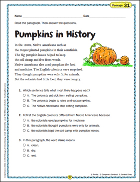 Pumpkins in History: Close Reading Passage - Printable Worksheet