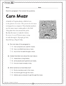 graphic about Printable Maze Reading Passages known as Corn Maze: Finish Reading through Webpage Printable Texts and