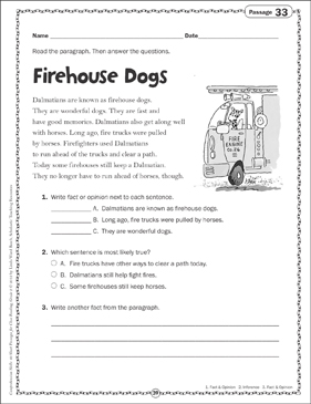Firehouse Dogs: Close Reading Passage - Printable Worksheet