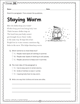 Staying Warm: Close Reading Passage - Printable Worksheet