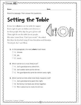 Setting the Table: Close Reading Passage - Printable Worksheet