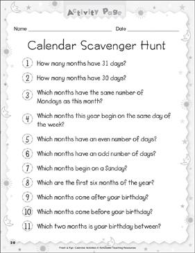 Calendar Scavenger Hunt | Printable Skills Sheets