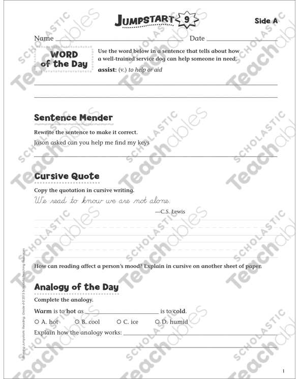 Independent Practice: Grade 4 Reading Jumpstart 9 | Printable Skills