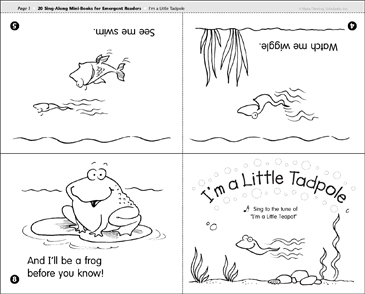 I'm a Little Tadpole: Sing-Along Book - Printable Worksheet