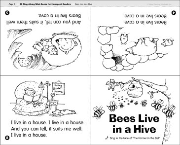 Bees Live in a Hive: Sing-Along Mini-Book - Printable Worksheet