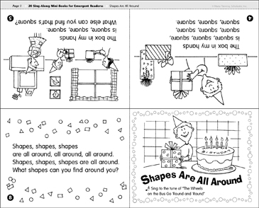Shapes Are All Around: Sing-Along Mini-Book - Printable Worksheet