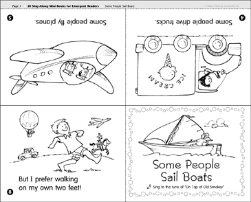 Some People Sail Boats: Sing-Along Mini-Book - Printable Worksheet