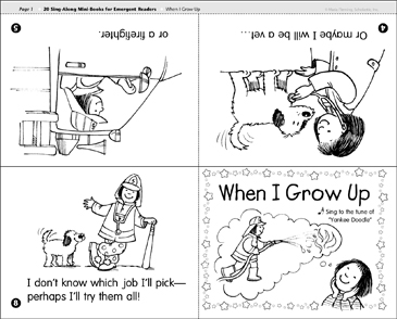 When I Grow Up: Sing-Along Book - Printable Worksheet