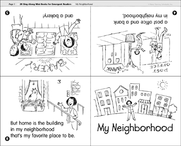My Neighborhood: Sing-Along Book - Printable Worksheet
