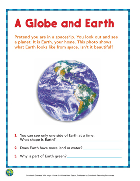 A Globe and Earth: Map Skills - Printable Worksheet