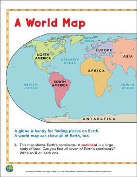 A World Map: Map Skills - Printable Worksheet