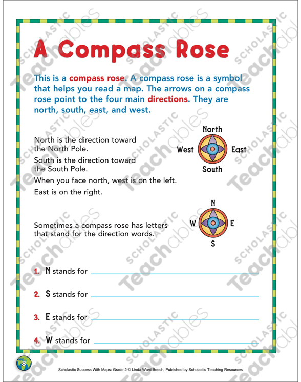 A Compass Rose Map Skills Printable Maps And Skills Sheets