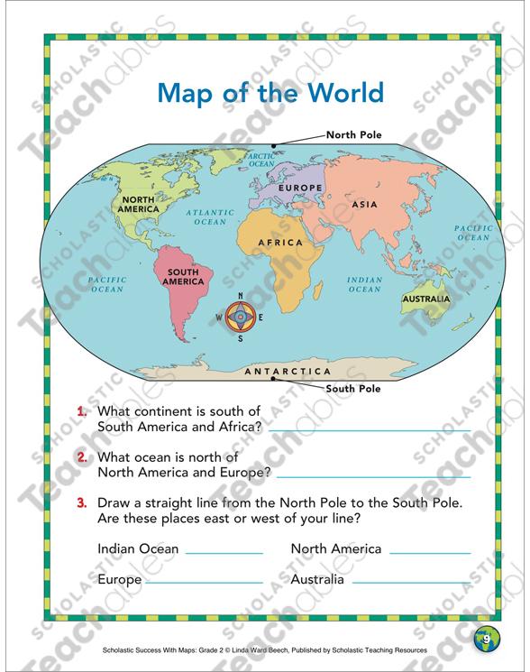 A Compass Rose: Map Skills   Printable Maps and Skills Sheets