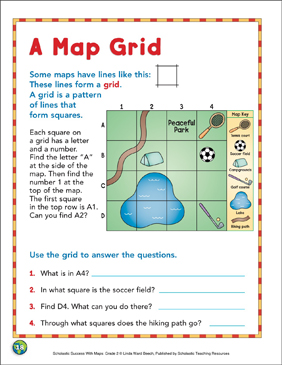 A Map Grid: Map Skills - Printable Worksheet
