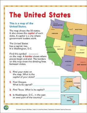 The United States: 2nd Grade Map Skills - Printable Worksheet