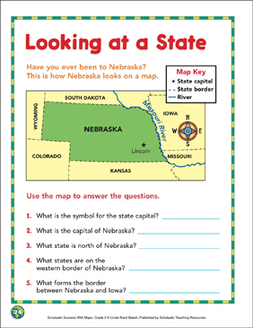 Looking at a State: Map Skills - Printable Worksheet