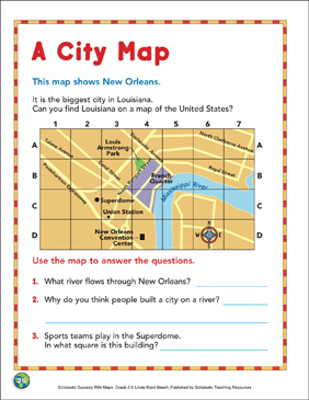 A City Map: Map Skills - Printable Worksheet