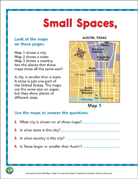 Small Spaces, Large Spaces: Map Skills - Printable Worksheet