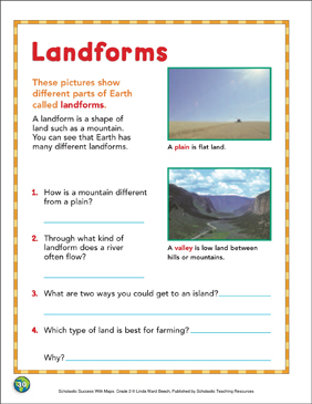 Landforms: Map Skills - Printable Worksheet