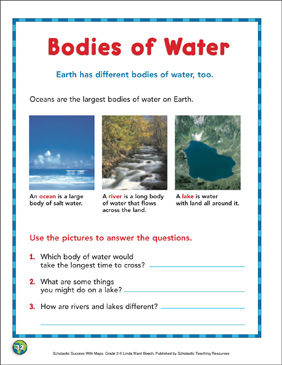 Bodies of Water: Map Skills - Printable Worksheet
