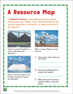 A Resource Map: Map Skills - Printable Worksheet