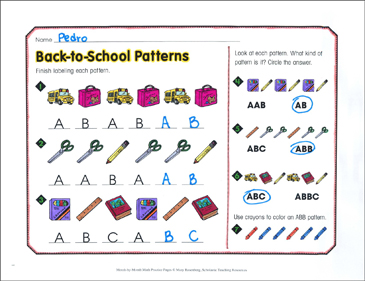 Back-to-School Patterns: September Math Practice - Printable Worksheet