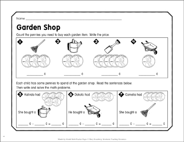Garden Shop: September Math Practice - Printable Worksheet