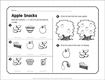 Apple Snacks: September Math Practice - Printable Worksheet