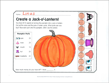 Create a Jack-o'-Lantern!: October Math Practice - Printable Worksheet